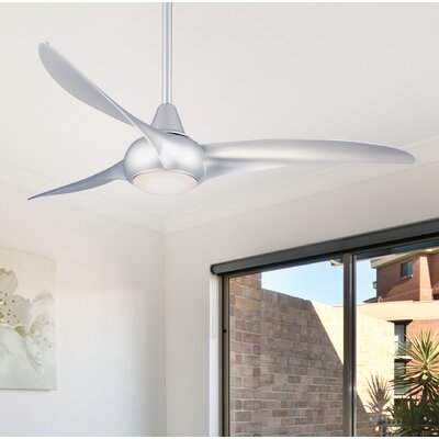 52 Wave 3 Blade Ceiling Fan with Remote Finish: Silver