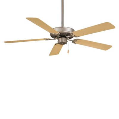 Low Price 52 inches Contractor 5 Blade Ceiling Fan Finish: Brushed Steel with Dark Walnut Blades