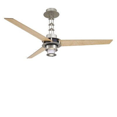 56 San Francisco 3-Blade Ceiling Fan with Wall Control Finish: Brushed Steel, Light: Yes