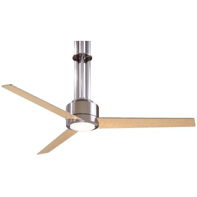 56 Flyte 3 Blade LED Ceiling Fan with Remote Finish: Brushed Nickel with Maple Blades