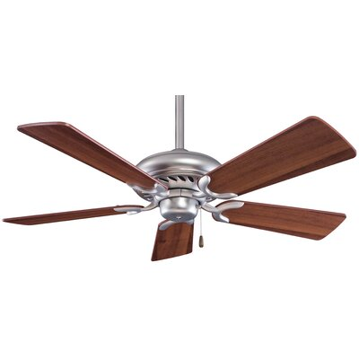 44 Supra 5-Blade Ceiling Fan Finish: Brushed Steel with Steel Blades