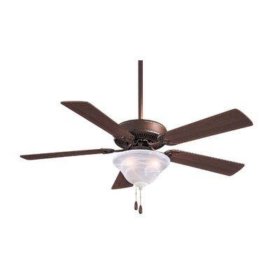 52 Contractor 5-Blade Ceiling Fan Finish: Oil Rubbed Bronze with Medium Maple Blades, Glass Type: Excavation Glass