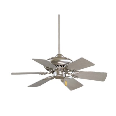 32 Supra 6-Blade Ceiling Fan Finish: Brushed Steel with Silver Blades
