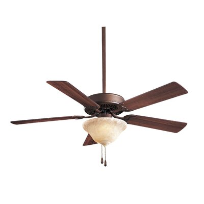 52 Contractor Uni Pack 5 Blade LED Ceiling Fan Finish: Oil Rubbed Bronze with Medium Maple Blades, Glass Type: Etched Swirl Glass