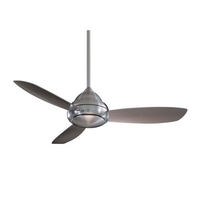 44 Concept I 3-Blade Ceiling Fan with Remote Finish: Brushed Nickel with Silver Blades, Bulb Type: Halogen