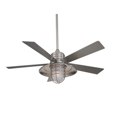54 RainMan 5 Blade Outdoor LED Ceiling Fan Finish: Brushed Nickel with Silver Blades