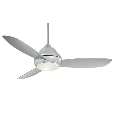 44 Concept I 3-Blade Ceiling Fan with Remote Finish: Polished Nickel, Bulb Type: Halogen