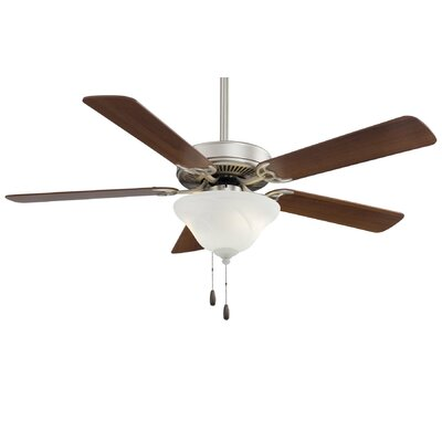 52 Contractor 5-Blade Ceiling Fan Finish: Brushed Steel with Dark Walnut Blades, Glass Type: Etched Swirl Glass