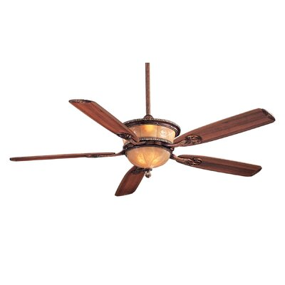 60 Hearst Castle Santa Lucia 5 Blade LED Ceiling Fan Finish: Caterra Bronze with Dark Walnut Blades, Glass Type: Cognac Fluted Etched Glass