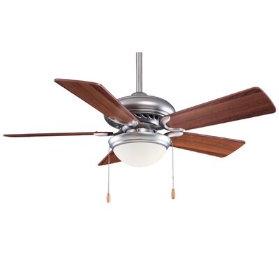 44 Supra 5 Blade LED Ceiling Fan Finish: Brushed Steel with Dark Walnut Blades