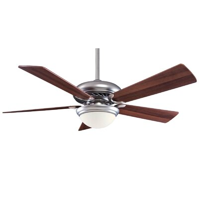 52 Supra 5 Blade LED Ceiling Fan Finish: Brushed Steel with Dark Walnut Blades