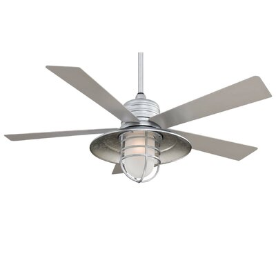 54 RainMan 5 Blade Outdoor LED Ceiling Fan Finish: Galvanized