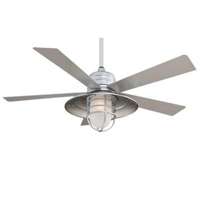 54 RainMan 5 Blade Outdoor LED Ceiling Fan Finish: Galvanized