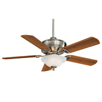 52 Bolo 5-Blade Ceiling Fan with Remote Finish: Brushed Nickel with Dark Walnut Blades, Glass Type: Etched Swirl Glass