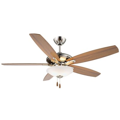 52 Mojo 5-Blade Ceiling Fan Finish: Brushed Nickel with Dark Walnut Blades, Glass Type: Frosted White Glass