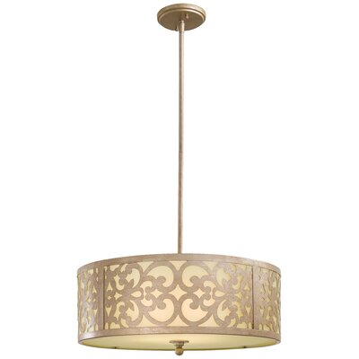 Aegean 3-Light Drum Pendant Size: Large, Finish: Champagne Silver