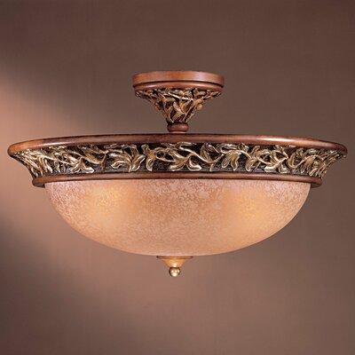Salon Grand 3-Light Semi Flush Mount