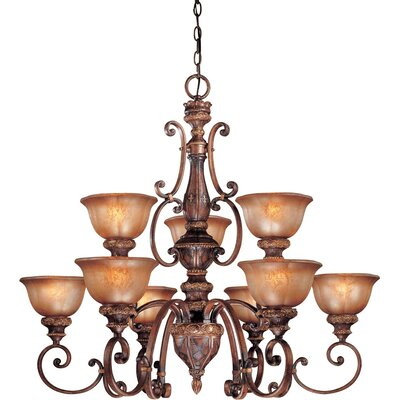Dee 9-Light Chandelier with Optional Ceiling Medallion