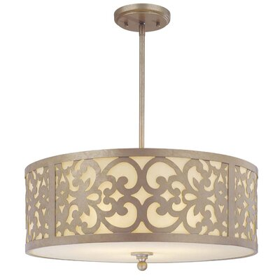Aegean 3-Light Drum Pendant Size: Large, Color: Champagne Silver