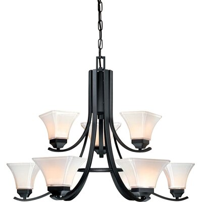 Agilis 9-Light Candle-Style Chandelier Finish: Black