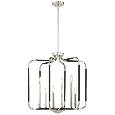 Karst 6-Light Candle-Style Chandelier Finish: Matte Black/Polished Nickel