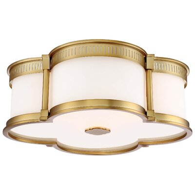 Makayla 3-Light Flush Mount Finish: Liberty Gold