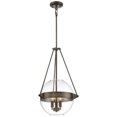 Karle 3-Light Globe Pendant Finish: Bronze, Size: 24 H x 15.5 W x 15.5 D