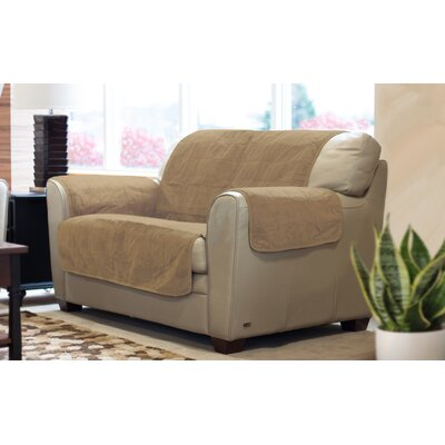 Suede Loveseat Slipcover Color: Clay