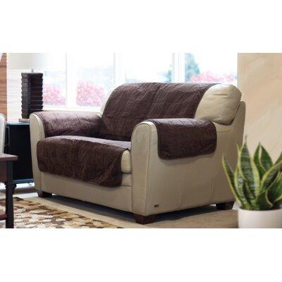 Suede Box Cushion Loveseat Slipcover Color: Espresso