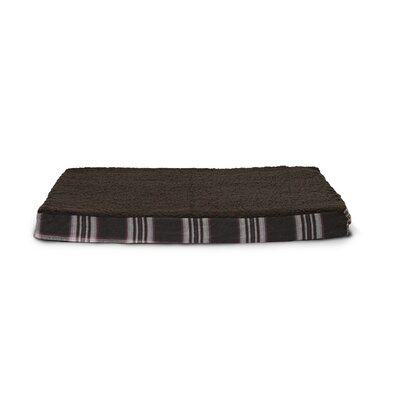 Boomer Faux Sheepskin and Plaid Orthopedic Pet Bed Size: Medium - 30 L x 20 W, Color: Java Brown