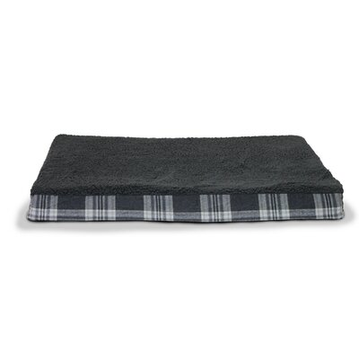 Boomer Faux Sheepskin and Plaid Orthopedic Pet Bed Size: Jumbo - 44 L x 35 W, Color: Smoke Gray