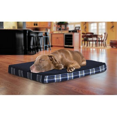 Faux Sheepskin and Plaid Orthopedic Pet Bed Size: Medium - 30 L x 20 W, Color: Midnight Blue