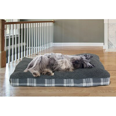 Faux Sheepskin and Plaid Deluxe Dog Pillow Size: Large - 36 L x 27 W, Color: Smoke Gray