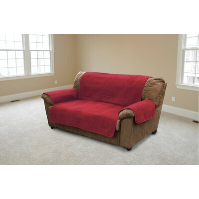 Suede Box Cushion Loveseat Slipcover Color: Burgundy