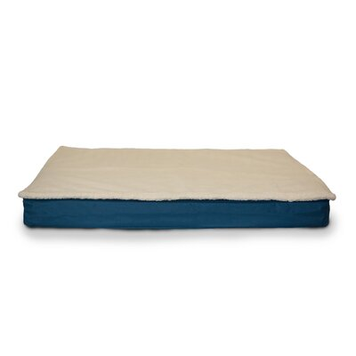Deluxe Outdoor Memory Foam Dog Bed with Removable Cover Size: Medium (30 L x 20 W), Color: Marine Blue