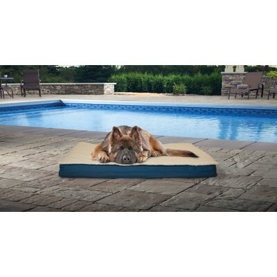 Deluxe Outdoor Orthopedic Pet Bed with Removable Cover Size: Large (36 L x 27 W), Color: Marine Blue