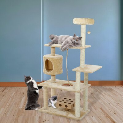 55 Ava Deluxe Cat Tree Color: Cream