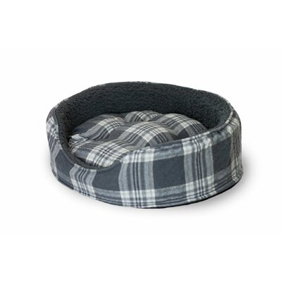 Snuggle Terry and Plaid Pet Bed Size: Large (26 L x 21 W), Color: Smoke Gray Oval