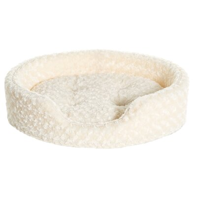 Ultra Plush Oval Pet Bed with Removable Cover Size: X-Large (30 L x 27 W), Color: Cream