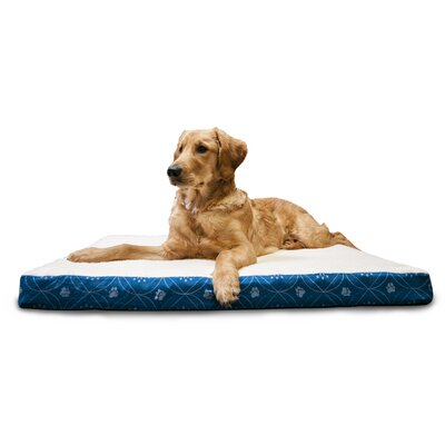 Deluxe Paw Decor Memory Foam Dog Bed Color: Twilight Blue, Size: Large (36 L x 27 W)