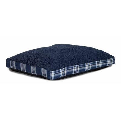 Brando Faux Sheepskin and Plaid Deluxe Dog Pillow Size: Large - 36 L x 27 W, Color: Midnight Blue