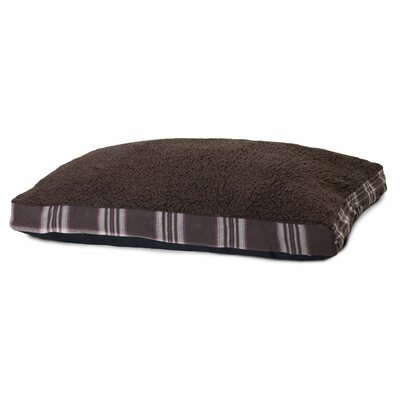 Faux Sheepskin and Plaid Deluxe Dog Pillow Size: X-Large - 44 L x 35 W, Color: Java Brown