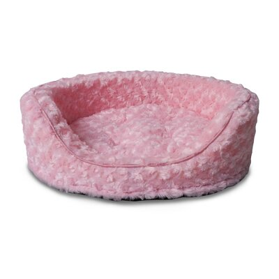 Ultra Plush Oval Pet Bed with Removable Cover Size: Small (19 L x 15 W), Color: Strawberry
