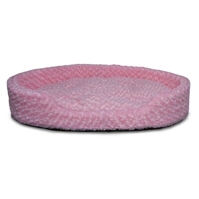 Ultra Plush Oval Pet Bed with Removable Cover Size: Jumbo (42 L x 29 W), Color: Strawberry