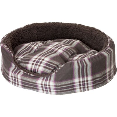 Snuggle Terry and Plaid Pet Bed Size: Small (19 L x 15 W), Color: Java Brown Oval