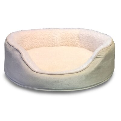 Orthopedic Sherpa/Suede Oval Pet Bed Color: Clay, Size: 26L x 21W