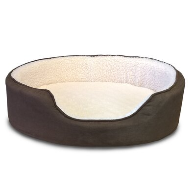 Faulkner Orthopedic Sherpa/Suede Oval Pet Bed Size: 23L x 18W, Color: Espresso