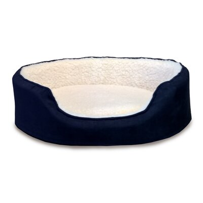 Orthopedic Sherpa/Suede Oval Pet Bed Color: Navy, Size: 23L x 18W