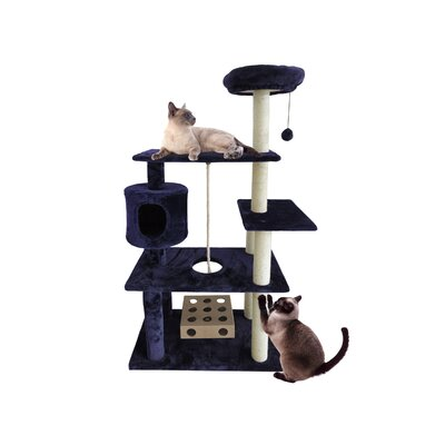 55 Ava Deluxe Cat Tree Color: Blue