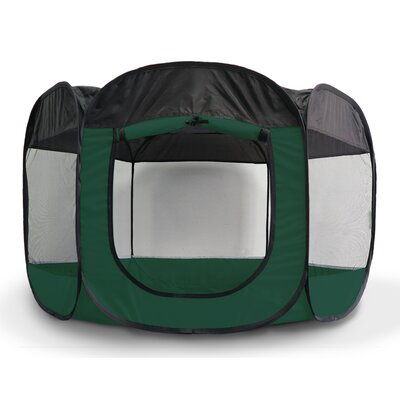 Portable Mesh Pet Pen Color: Hunter Green, Size: 30 H x 51 W